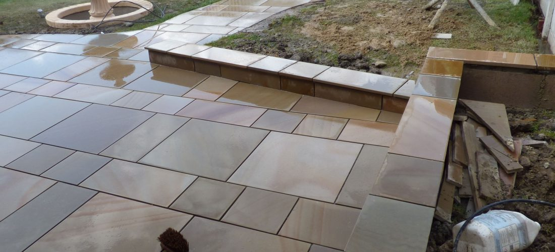 A patio under construction