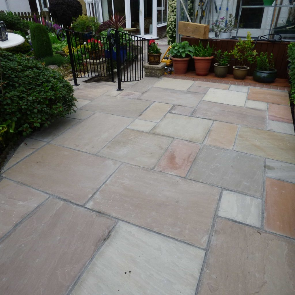 Newly laid paving stones, clean and orderly.