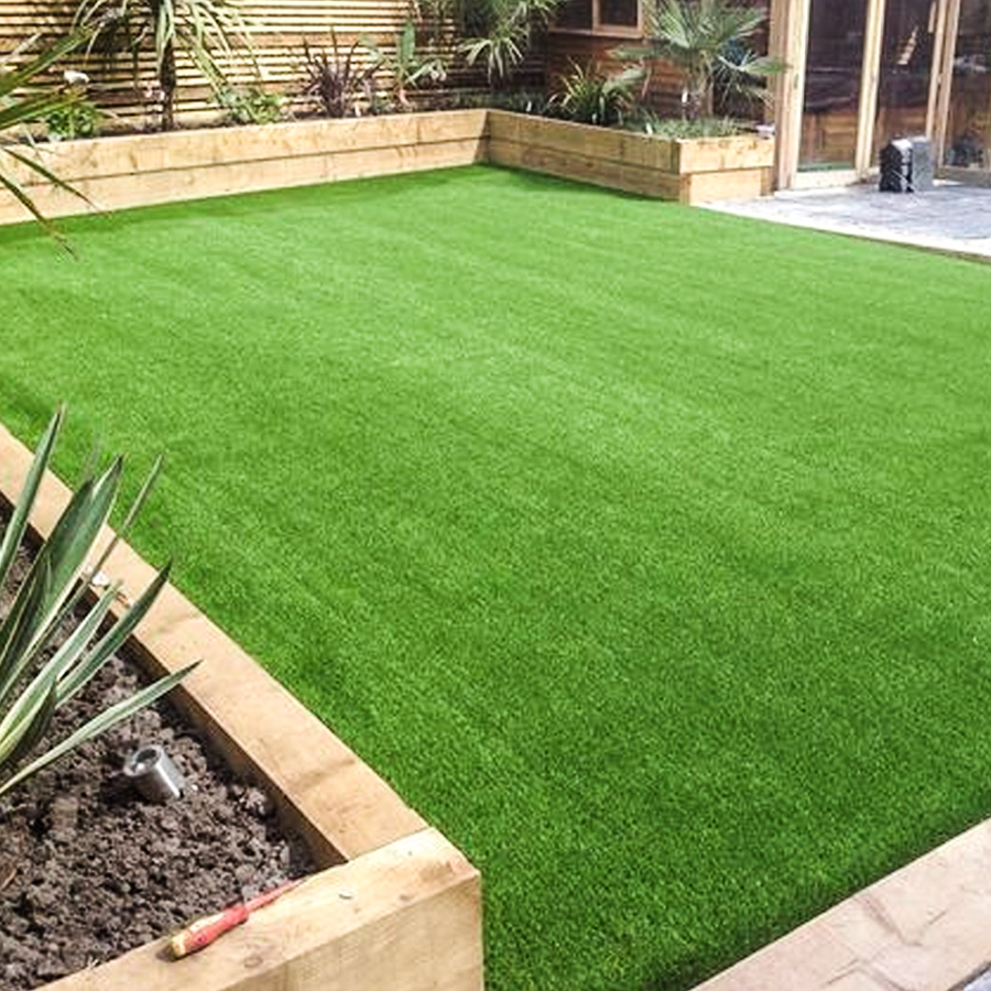 Artificial grass recently installed